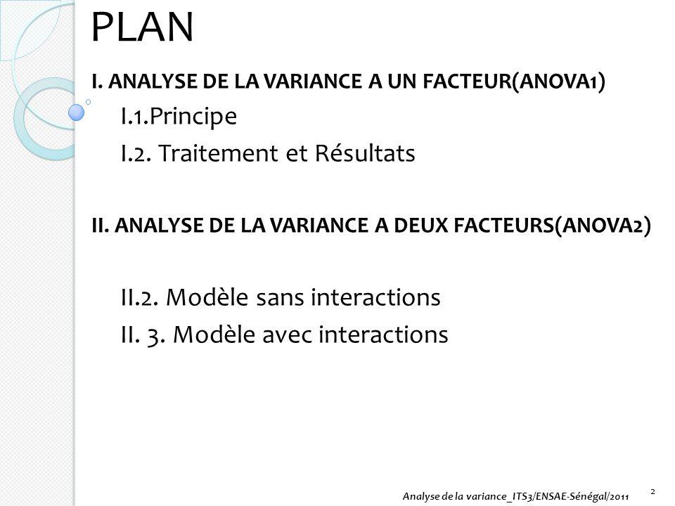PLAN I. ANALYSE DE LA VARIANCE A UN FACTEUR(ANOVA1) I.1.Principe I.2. Traitement et Résultats II. ANALYSE DE LA VARIANCE A DEUX FACTEURS(ANOVA2) II.2.