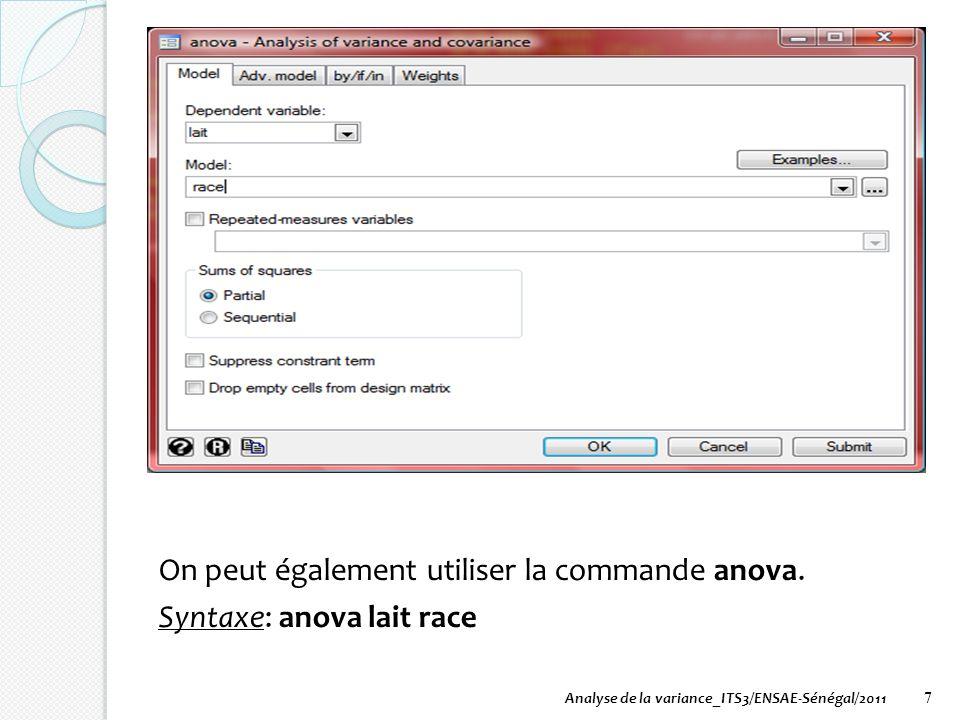7 On peut également utiliser la commande anova. Syntaxe: anova lait race