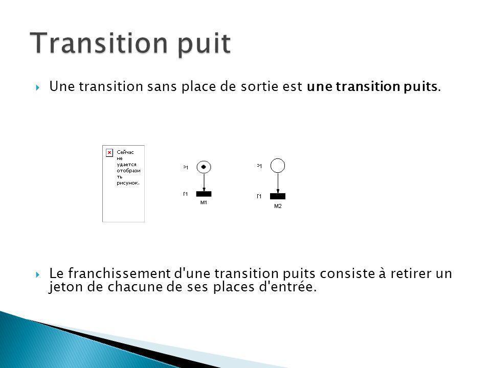 Une transition sans place de sortie est une transition puits. Le franchissement d'une transition puits consiste à retirer un jeton de chacune de ses p