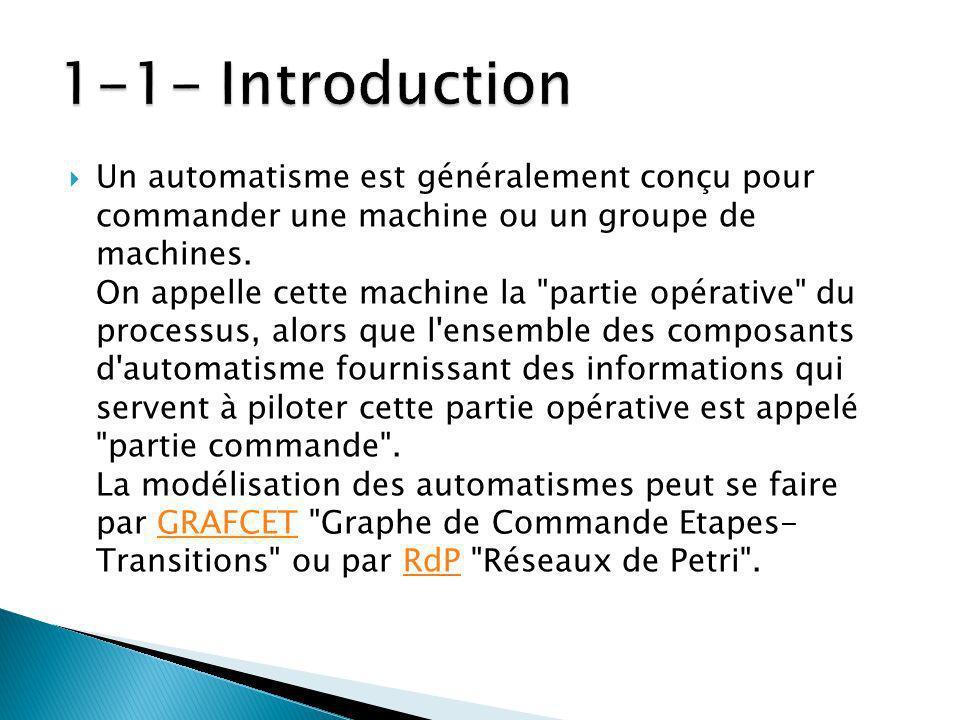 Un automatisme est généralement conçu pour commander une machine ou un groupe de machines.