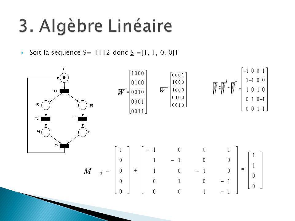 Soit la séquence S= T1T2 donc S =[1, 1, 0, 0]T
