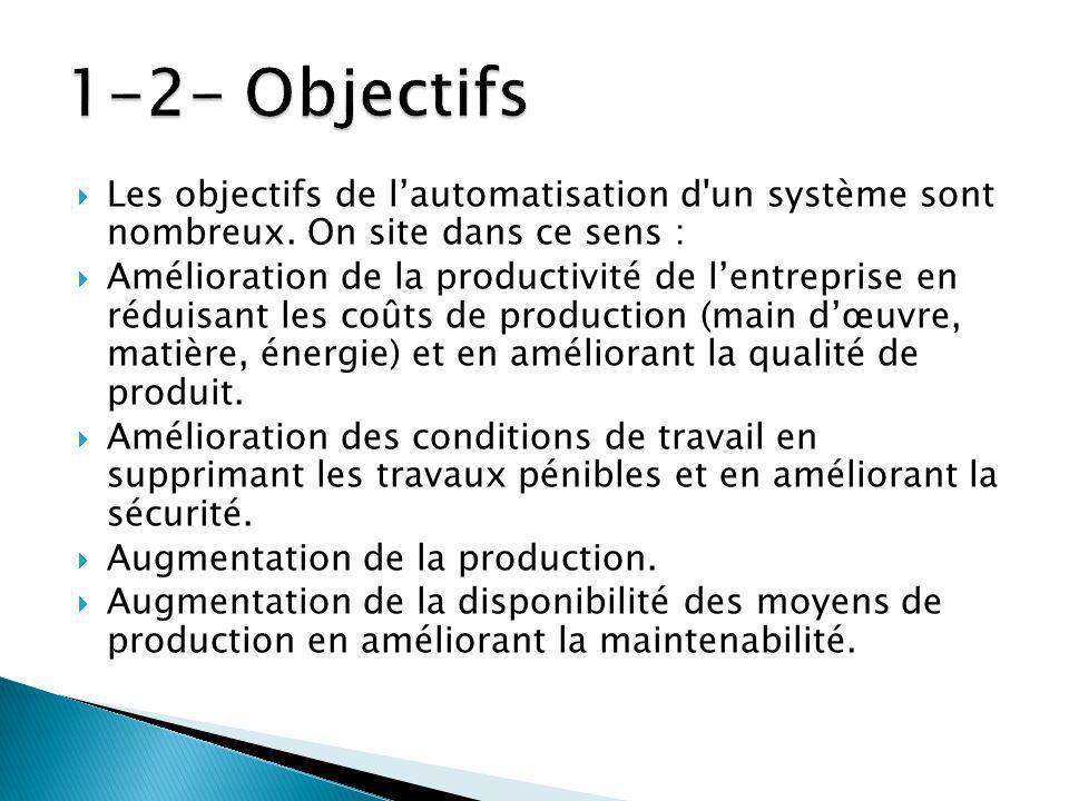 Les objectifs de lautomatisation d un système sont nombreux.