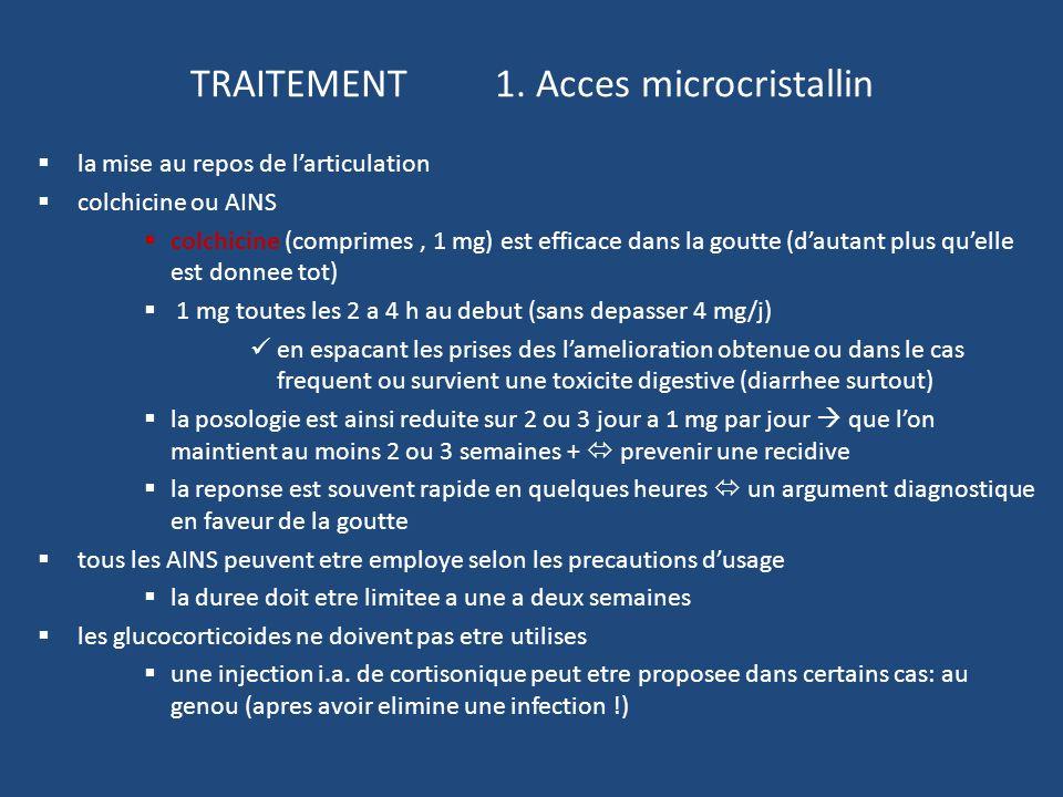 TRAITEMENT 1. Acces microcristallin la mise au repos de larticulation colchicine ou AINS colchicine (comprimes, 1 mg) est efficace dans la goutte (dau