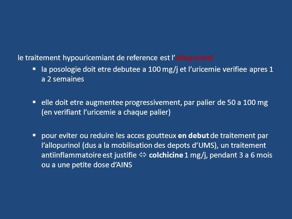 le traitement hypouricemiant de reference est lallopurinol la posologie doit etre debutee a 100 mg/j et luricemie verifiee apres 1 a 2 semaines elle d