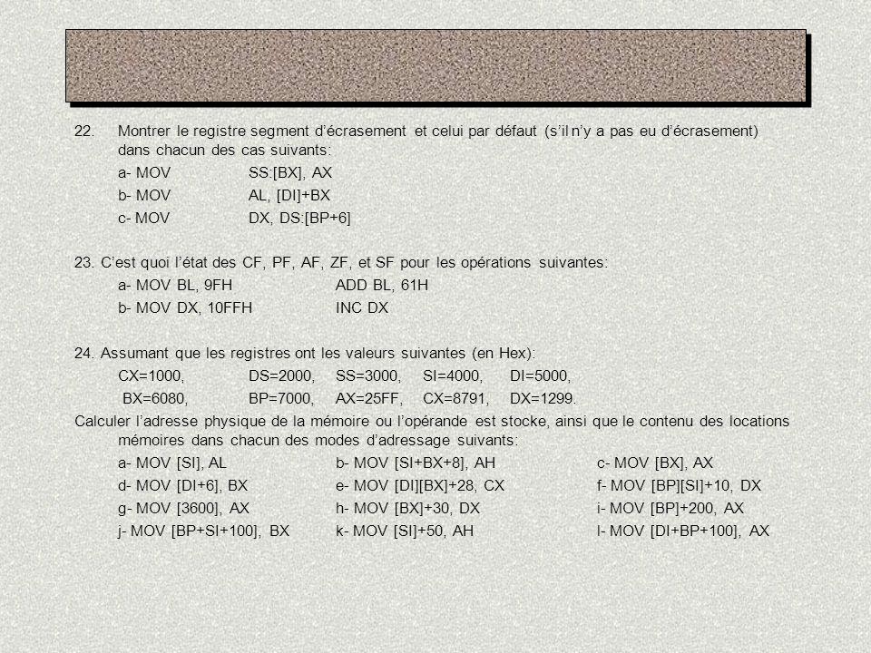 22.Montrer le registre segment décrasement et celui par défaut (sil ny a pas eu décrasement) dans chacun des cas suivants: a- MOVSS:[BX], AX b- MOVAL,