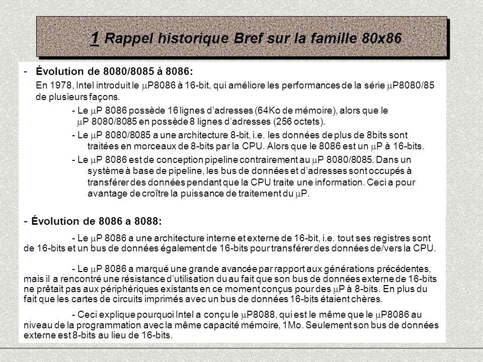 1 Rappel historique Bref sur la famille 80x86 -Succès du P 8088: La situation financière dIntel sest considérablement amélioré lorsque IBM a choisi le 8086 comme le P de choix pour son micro-ordinateur IBM PC, qui a connu un énorme succès, a cause du fait quIBM et Microsoft (qui a développé MSDOS), lont rendu système ouvert, i.e.