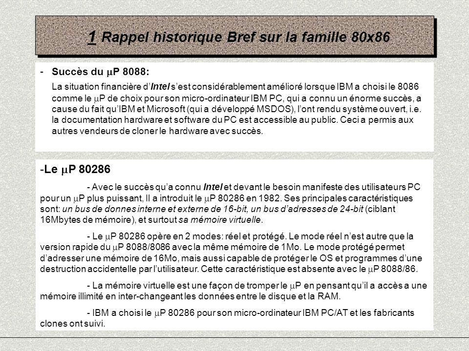 1 Rappel historique Bref sur la famille 80x86 -Succès du P 8088: La situation financière dIntel sest considérablement amélioré lorsque IBM a choisi le
