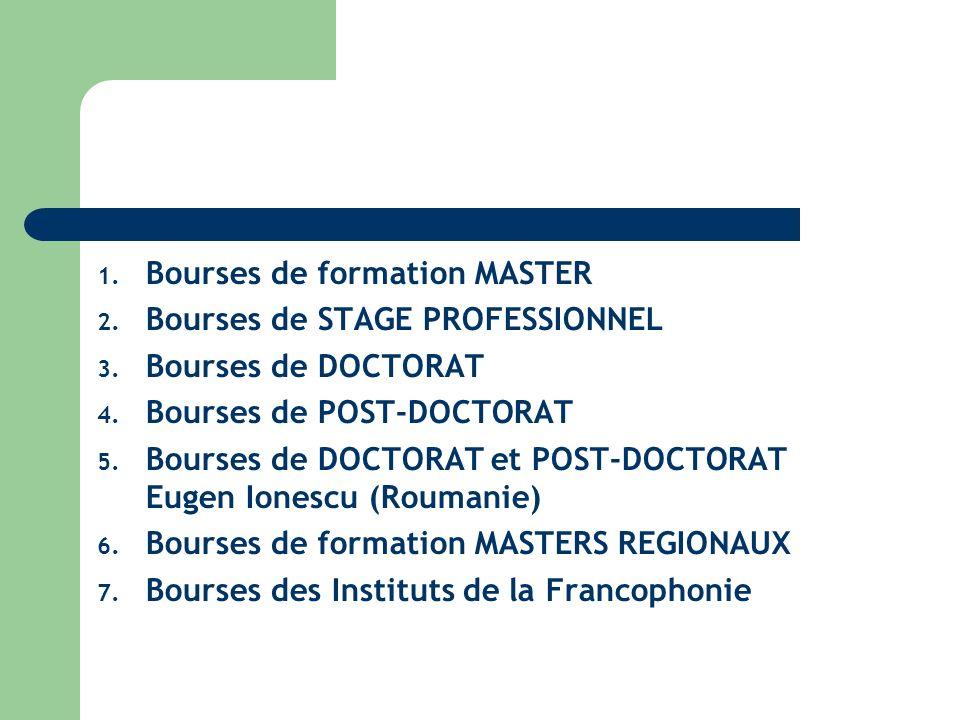 1. Bourses de formation MASTER 2. Bourses de STAGE PROFESSIONNEL 3.