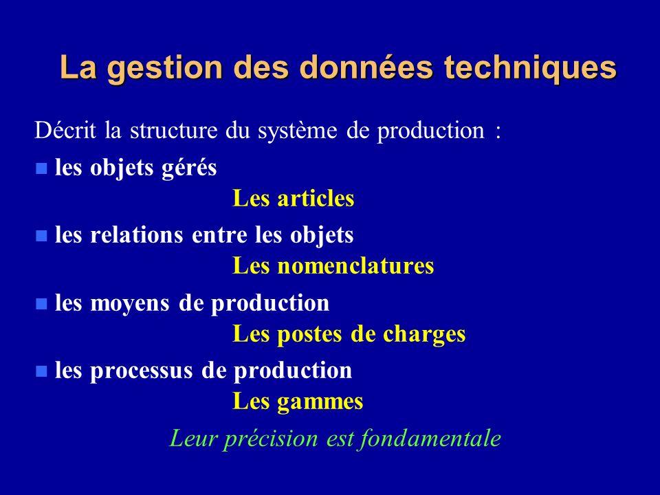 La gestion des données techniques Décrit la structure du système de production : n les objets gérés Les articles n les relations entre les objets Les