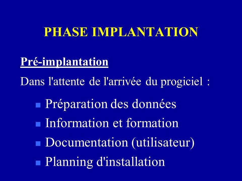 PHASE IMPLANTATION Pré-implantation n Préparation des données n Information et formation n Documentation (utilisateur) n Planning d'installation Dans