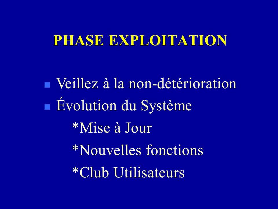 PHASE EXPLOITATION n Veillez à la non-détérioration n Évolution du Système *Mise à Jour *Nouvelles fonctions *Club Utilisateurs
