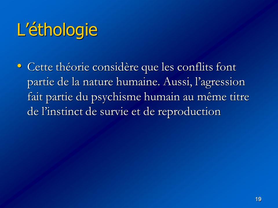 19 Léthologie Cette théorie considère que les conflits font partie de la nature humaine. Aussi, lagression fait partie du psychisme humain au même tit