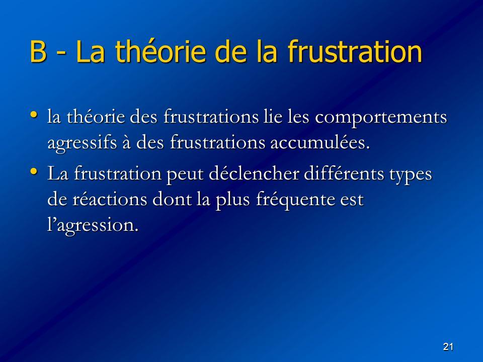 21 B - La théorie de la frustration la théorie des frustrations lie les comportements agressifs à des frustrations accumulées. la théorie des frustrat