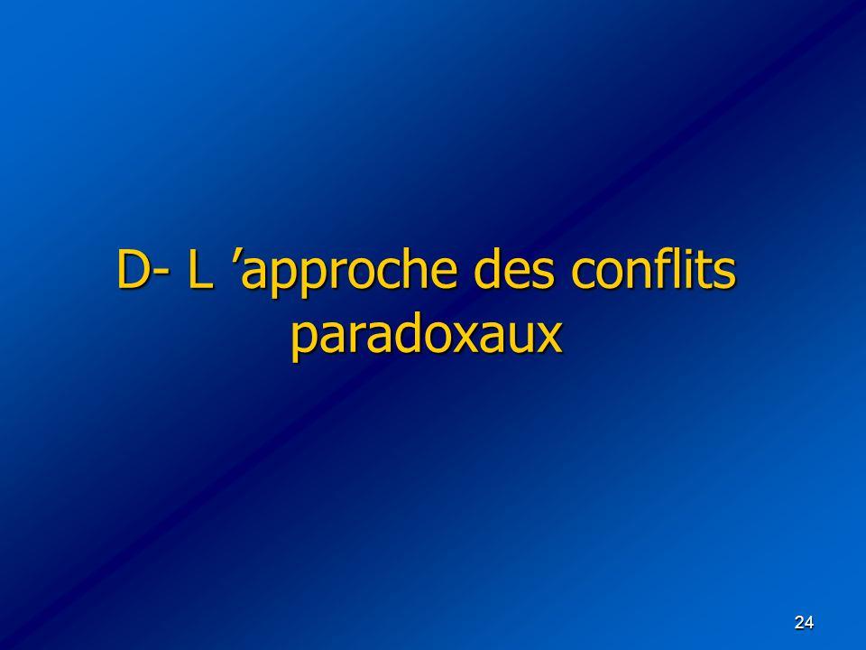 24 D- L approche des conflits paradoxaux