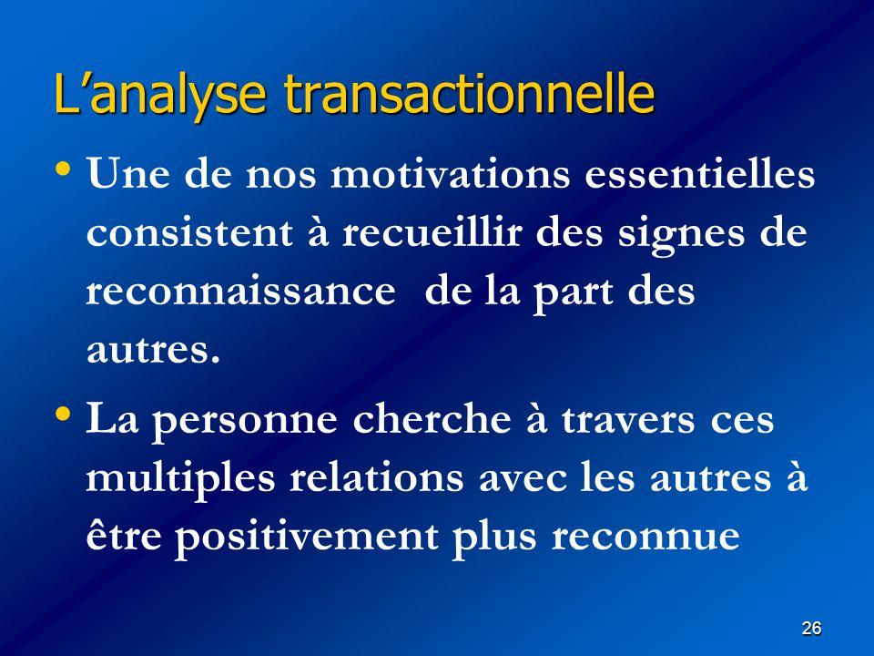 26 Lanalyse transactionnelle Lanalyse transactionnelle Une de nos motivations essentielles consistent à recueillir des signes de reconnaissance de la
