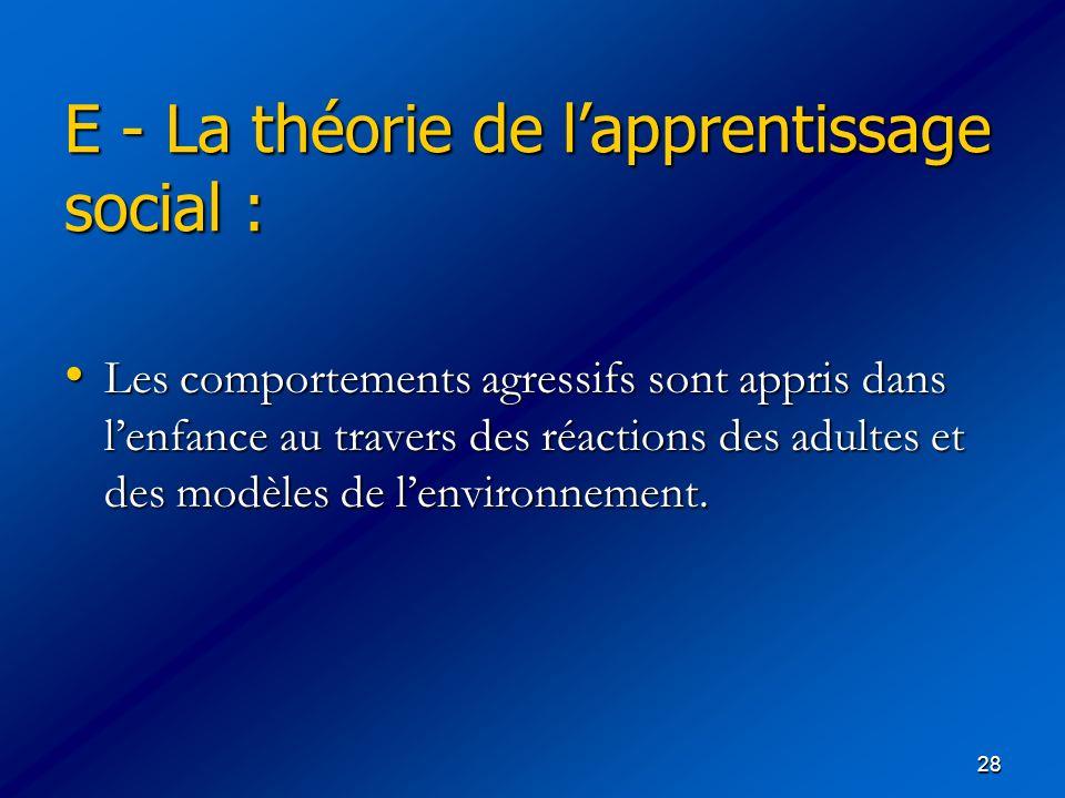 28 E - La théorie de lapprentissage social : Les comportements agressifs sont appris dans lenfance au travers des réactions des adultes et des modèles