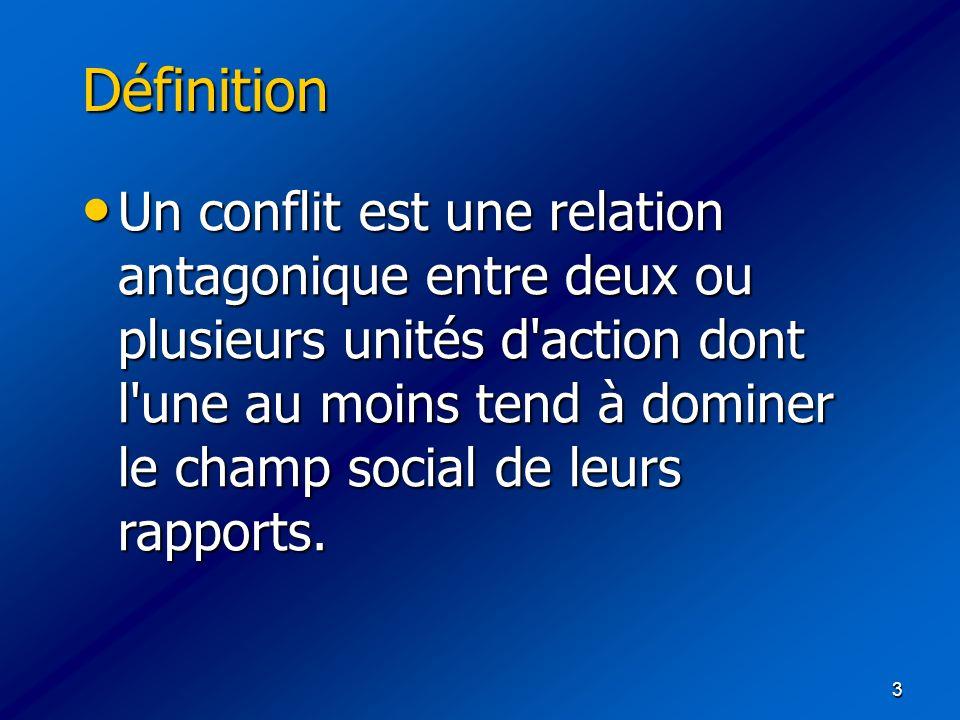 3 Définition Un conflit est une relation antagonique entre deux ou plusieurs unités d'action dont l'une au moins tend à dominer le champ social de leu