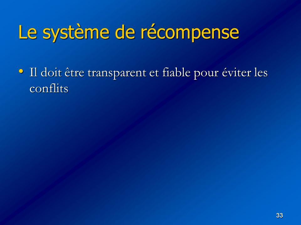 33 Le système de récompense Le système de récompense Il doit être transparent et fiable pour éviter les conflits Il doit être transparent et fiable po