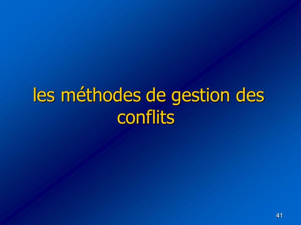 41 les méthodes de gestion des conflits les méthodes de gestion des conflits