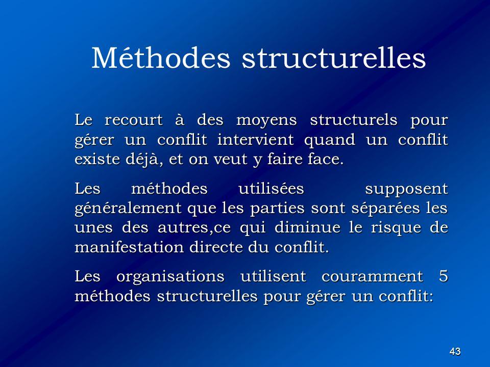 43 Le recourt à des moyens structurels pour gérer un conflit intervient quand un conflit existe déjà, et on veut y faire face. Les méthodes utilisées