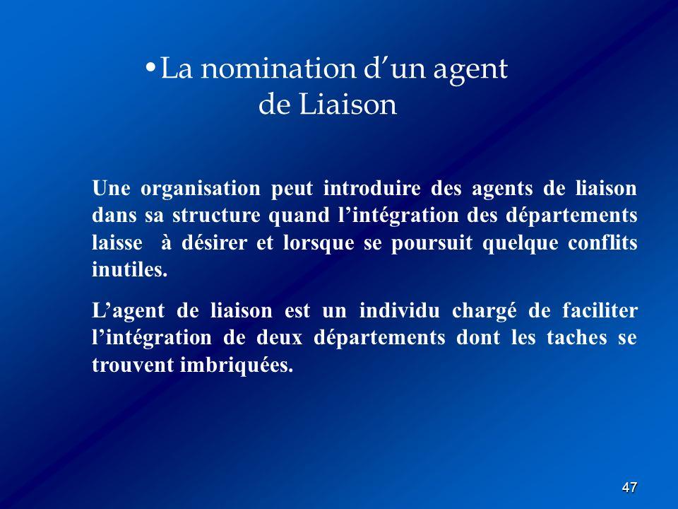 47 La nomination dun agent de Liaison Une organisation peut introduire des agents de liaison dans sa structure quand lintégration des départements lai