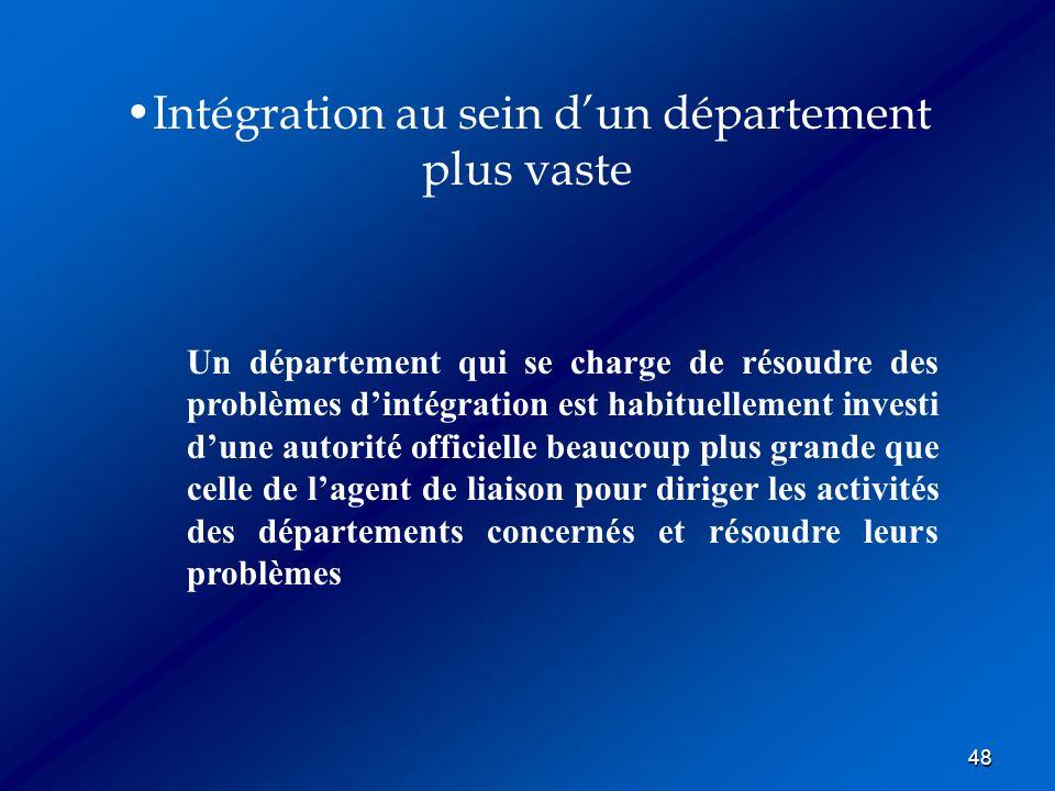 48 Intégration au sein dun département plus vaste Un département qui se charge de résoudre des problèmes dintégration est habituellement investi dune