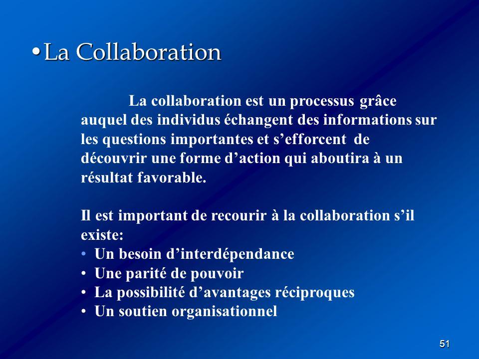 51 La CollaborationLa Collaboration La collaboration est un processus grâce auquel des individus échangent des informations sur les questions importan