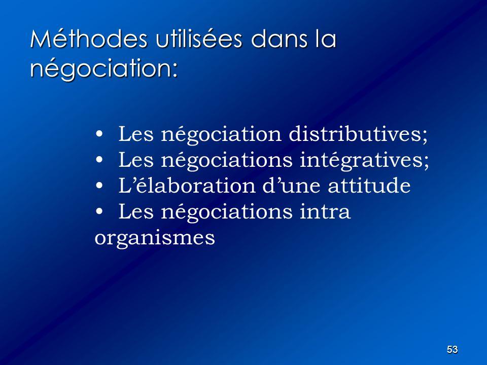 53 Méthodes utilisées dans la négociation: Les négociation distributives; Les négociations intégratives; Lélaboration dune attitude Les négociations i