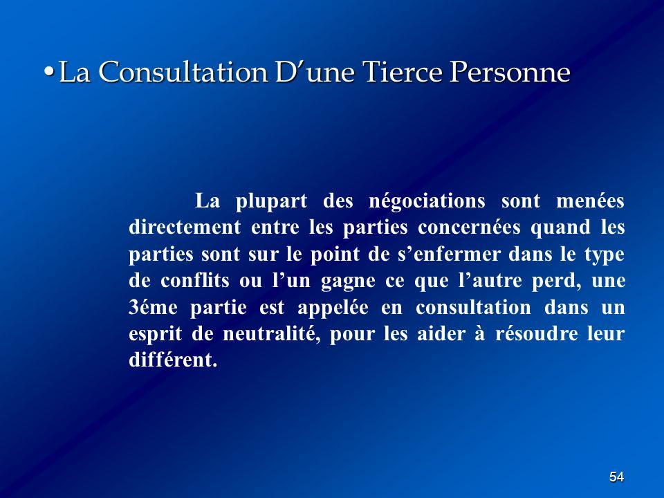 54 La Consultation Dune Tierce PersonneLa Consultation Dune Tierce Personne La plupart des négociations sont menées directement entre les parties conc