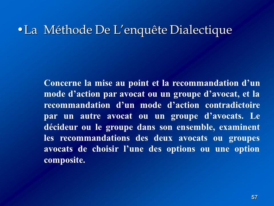 57 La Méthode De Lenquête DialectiqueLa Méthode De Lenquête Dialectique Concerne la mise au point et la recommandation dun mode daction par avocat ou