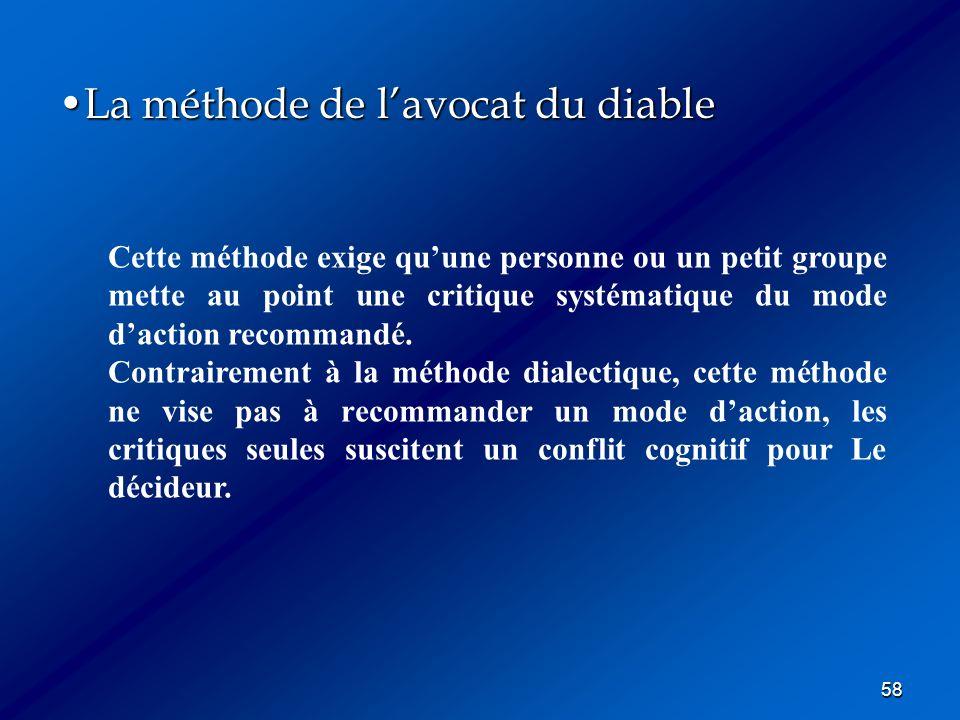58 La méthode de lavocat du diableLa méthode de lavocat du diable Cette méthode exige quune personne ou un petit groupe mette au point une critique sy
