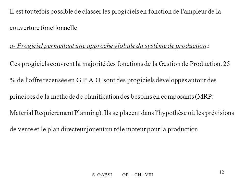 S. GABSI GP - CH - VIII 12 Il est toutefois possible de classer les progiciels en fonction de l'ampleur de la couverture fonctionnelle a- Progiciel pe