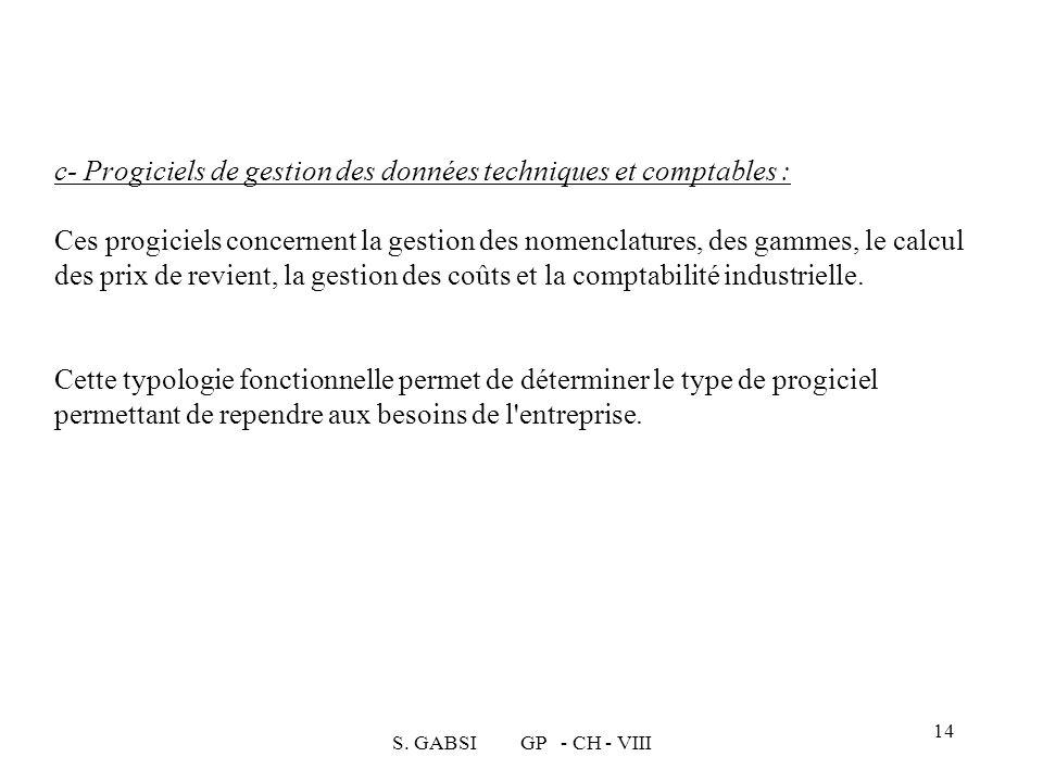 S. GABSI GP - CH - VIII 14 c- Progiciels de gestion des données techniques et comptables : Ces progiciels concernent la gestion des nomenclatures, des