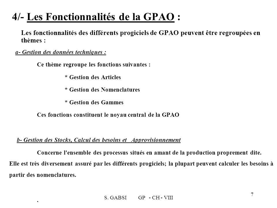 S. GABSI GP - CH - VIII 7 4/- Les Fonctionnalités de la GPAO : Les fonctionnalités des différents progiciels de GPAO peuvent être regroupées en thèmes