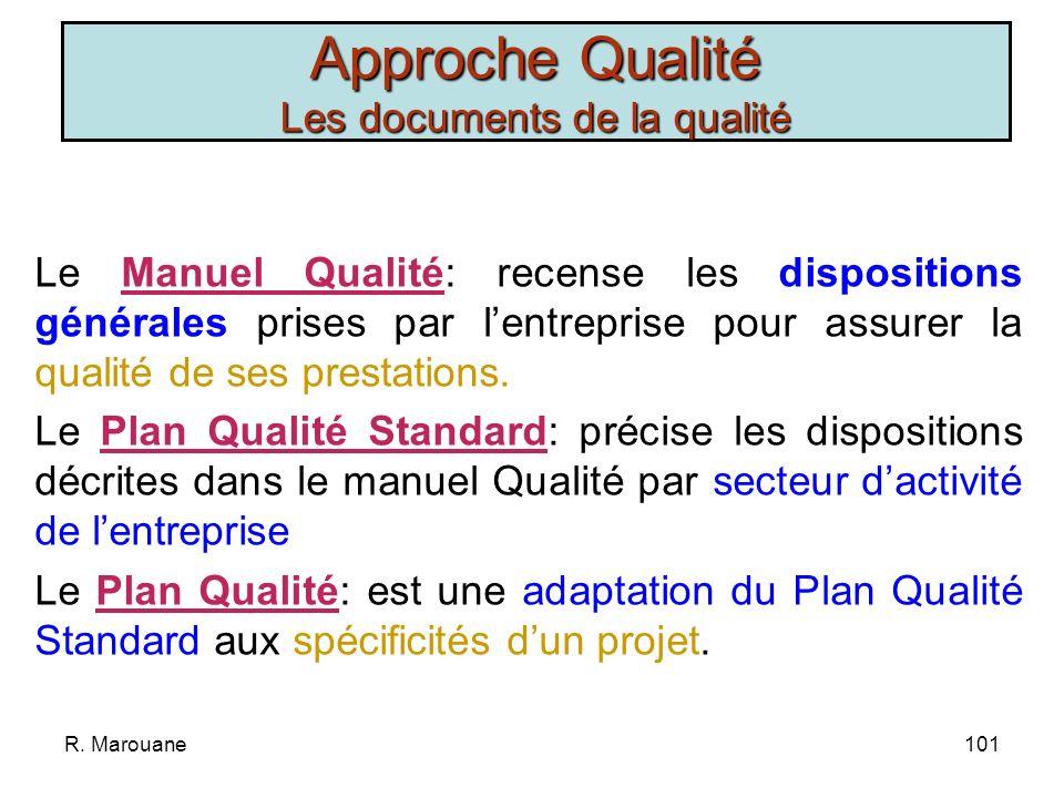 R. Marouane100 «La qualité est lensemble des propriétés et caractéristiques dun produit ou dun service qui lui confère laptitude à satisfaire un besoi