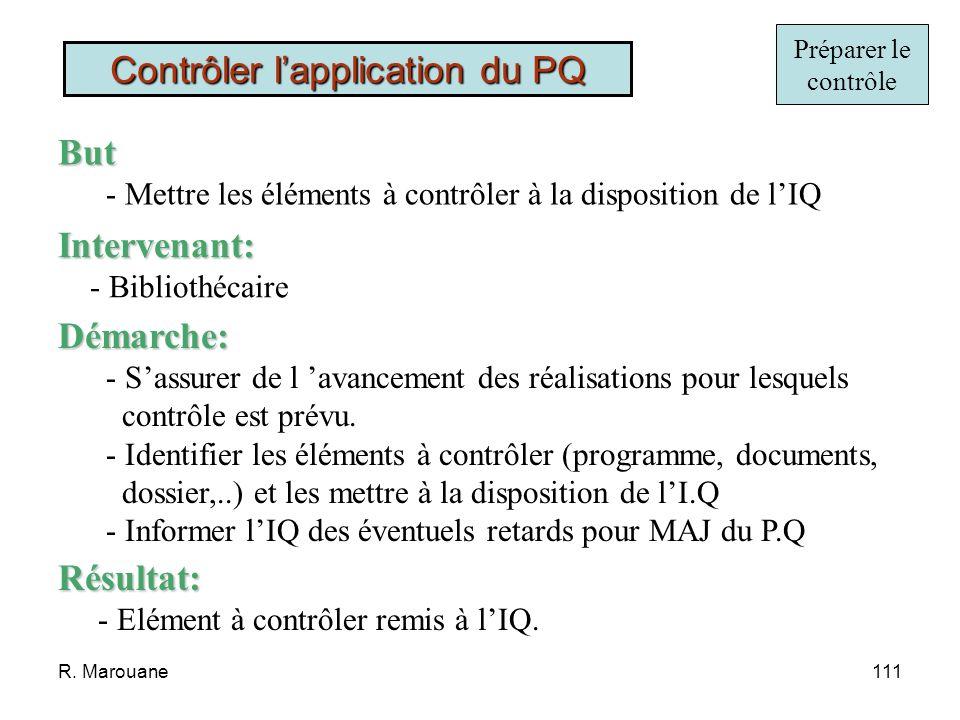 R. Marouane110 Contrôler lapplication du plan Préparer le contrôle Liste des contrôles réalisés Réalisation Contrôler la qualité Préparer le contrôle