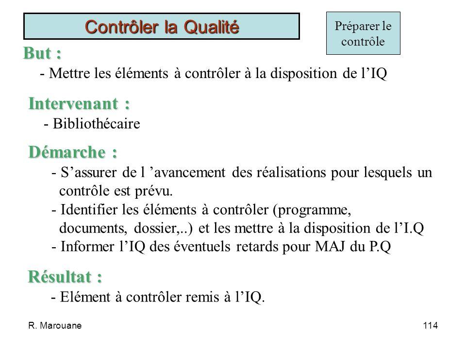 R. Marouane113 1) But, Domaine dApplication et Responsabilité 2) Documents applicables et documents de référence 3) Terminologie 4) Organisation 5) Dé