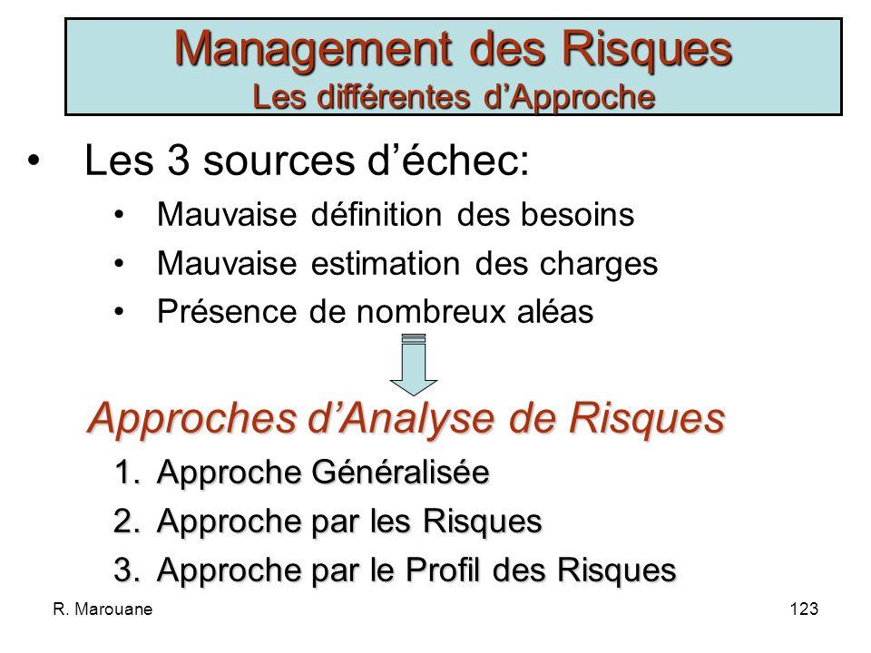 R. Marouane122 ProcessusProcessus - naboutit pas - a consommé trop de ressources - a duré trop longtemps ProjetProjet - ne remplit pas les fonctions a