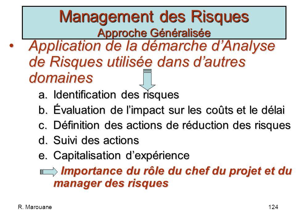 R. Marouane123 Les 3 sources déchec: Mauvaise définition des besoins Mauvaise estimation des charges Présence de nombreux aléas Approches dAnalyse de