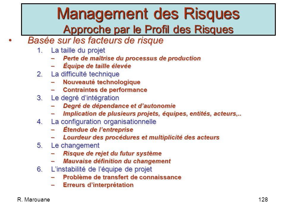 R. Marouane127 Management des Risques Approche par les Risques CritèresRisques ObjectifStratégie Faible implication de la DG, Changement de lenvironne