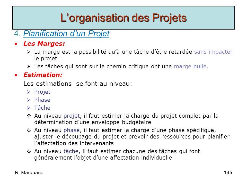 4. Planification dun Projet Le Planning: Pour bâtir un planning, il faut associer à chaque tâche : Les dates au plus tôt (Début au plus tôt et Fin au