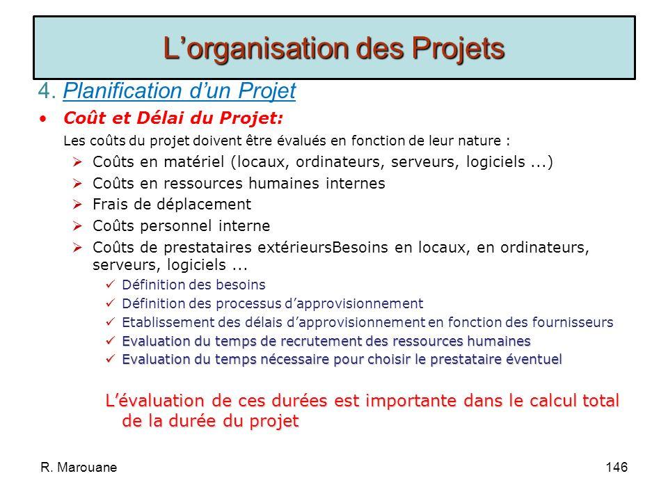 4. Planification dun Projet Les Marges: La marge est la possibilité quà une tâche dêtre retardée sans impacter le projet. Les tâches qui sont sur le c