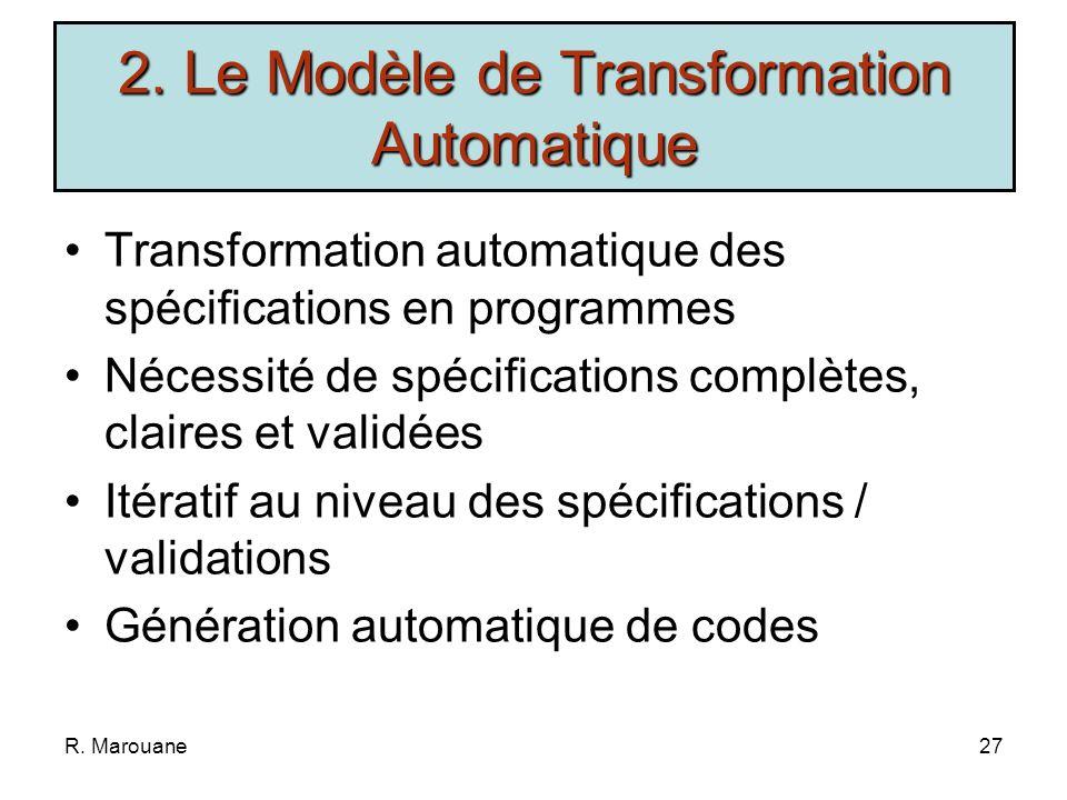 R. Marouane26 Spécifications Validation Transformation 2. Le Modèle de Transformation Automatique