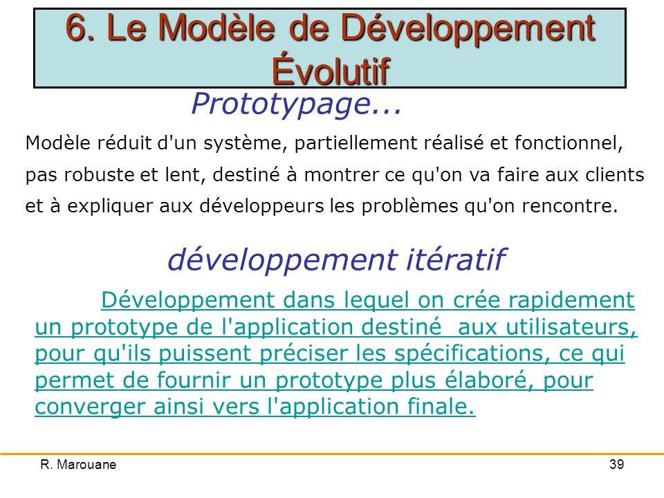 R. Marouane38 Construction progressive du système de façon participative Complexité ou absence de spécifications claires et bien définies Obtention du