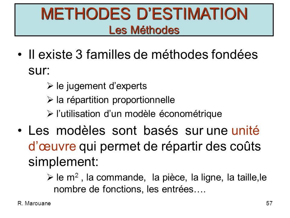 R. Marouane56 METHODES DESTIMATION Les Non- Méthodes 1.Parkinson Sans évaluation Aléatoire Consomme toutes les ressources disponibles Temps et Hommes