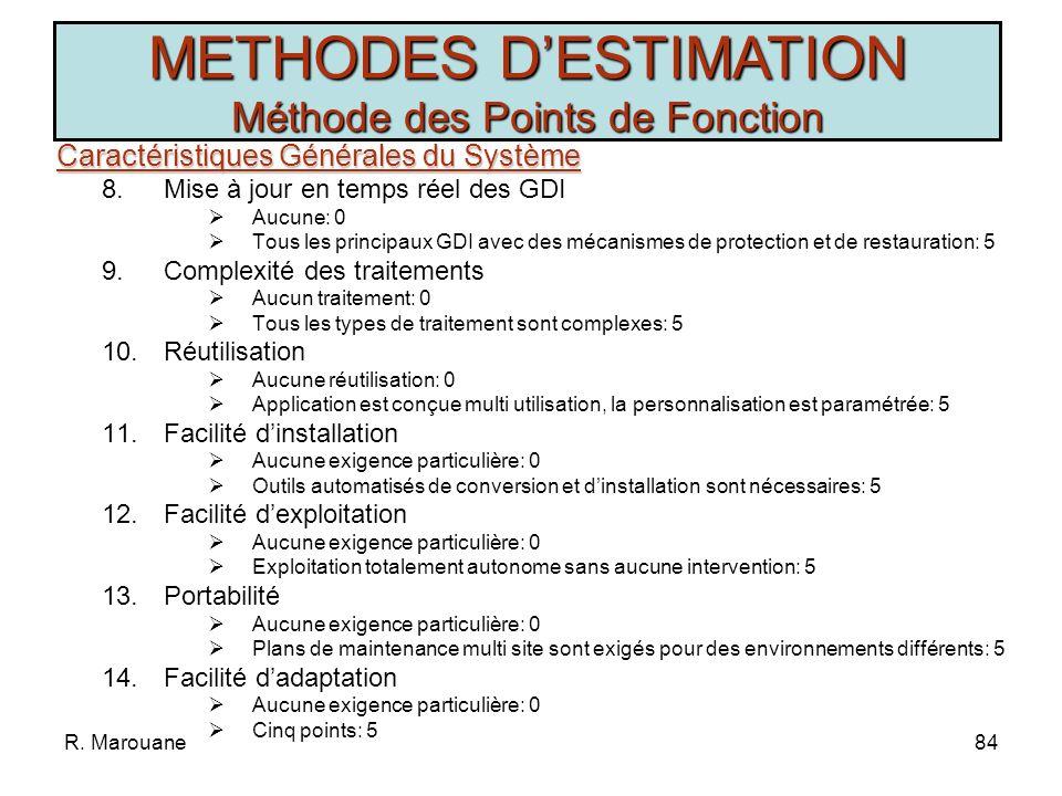 R. Marouane83 Caractéristiques Générales du Système Caractéristiques Générales du Système 1.Communication des données Aucune communication: 0 Plusieur
