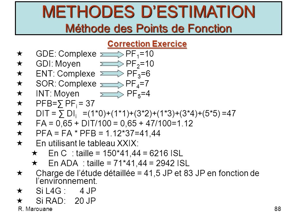R. Marouane87 Exercice Exercice Soit un projet ayant les spécifications suivantes: Ces valeurs correspondent à des moyennes extraites du cahier de cha