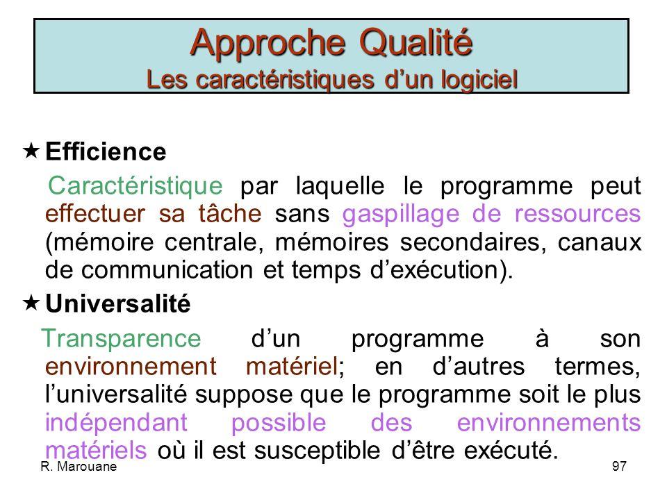 R. Marouane96 Exactitude Précision que doivent avoir les sorties du programme pour correspondre aux résultats attendus. Simplicité Caractéristique qui