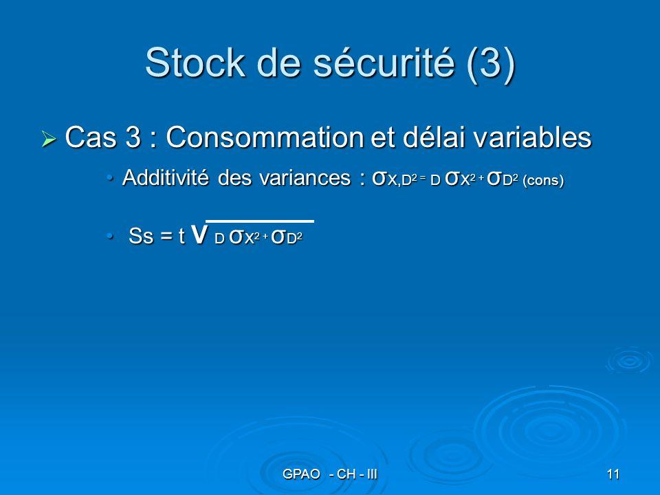 GPAO - CH - III11 Stock de sécurité (3) Cas 3 : Consommation et délai variables Cas 3 : Consommation et délai variables Additivité des variances : σ X