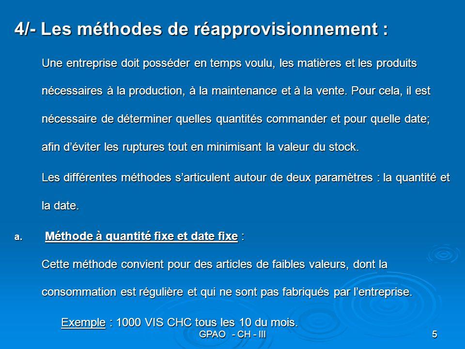 GPAO - CH - III5 4/- Les méthodes de réapprovisionnement : Une entreprise doit posséder en temps voulu, les matières et les produits nécessaires à la